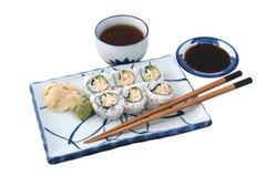 завершите изолированные суши еды стоковая фотография rf
