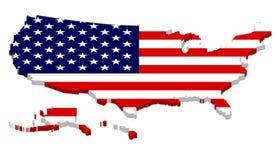 Завершите карту США с верхним слоем флага Стоковое фото RF