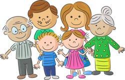 Завершите родителей заботы семьи шаржа с детьми Стоковое Изображение RF