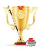Завивая иллюстрация вектора золотого запаса победителя чашки Стоковая Фотография RF
