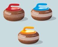 Завивая камни, игра спорта льдед каток также вектор иллюстрации притяжки corel бесплатная иллюстрация