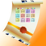 Завитая бумага с календарем Стоковое Изображение RF