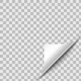 Завитый бумажный угол листа с тенью иллюстрация штока