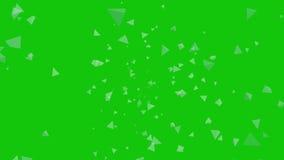 Завихряющся, вращая треугольник 3D формирует зеленый экран акции видеоматериалы