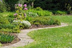 Завихряясь дорожка в середине сада и подняла стоковая фотография rf