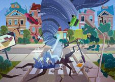 Завихряясь торнадо в деревне Дома и улица урагана разрушая Вектор мультфильма концепции стихийного бедствия иллюстрация вектора