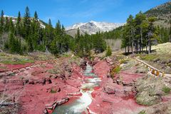 Заводь бежать через красный каньон утеса, озера национальный парк Waterton, Альберту стоковая фотография