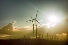 Завод ветра в Европе, использующих энергию ветр генераторах стоковое фото rf