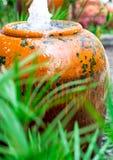Завод зонтика Cyperus и малый фонтан в керамическом опарнике стоковые изображения