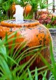Завод зонтика Cyperus и малый фонтан в керамическом опарнике стоковые фотографии rf