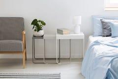 Завод, лампа и книги на таблице между креслом и голубой кроватью внутри Стоковое фото RF