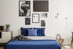 Завод на шкафе рядом с кроватью сини военно-морского флота в интерьере спальни с белой лампой и галереей Реальное фото стоковая фотография rf