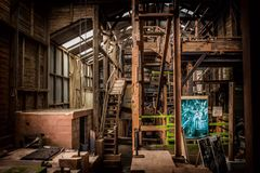Завод по обработке шахты олова Derilict Стоковое Изображение RF