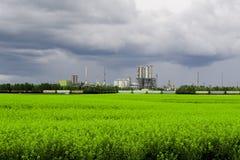 Завод Industrail и зеленое поле Стоковые Фотографии RF
