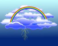 заволакивает вектор радуги молнии Стоковое фото RF