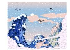 заволакивает гора над пиковым небом Стоковое Изображение