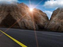 заволакивает солнце неба дороги Стоковое Фото