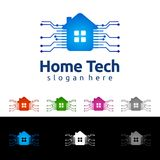 Заволоките дизайн логотипа вектора домой, недвижимости с формой дома и облака, представленный интернет, данные или хостинг Стоковые Изображения
