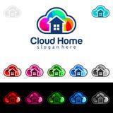 Заволоките дизайн логотипа вектора домой, недвижимости с формой дома и облака, представленный интернет, данные или хостинг Стоковое Изображение