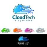 Заволоките дизайн логотипа вектора домой, недвижимости с формой дома и облака, представленный интернет, данные или хостинг Стоковая Фотография