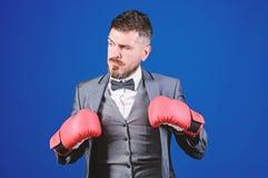 Завоюйте успех Защитник планируя вне стратегии Бизнесмен носит перчатки бокса Самая лучшая уголовная оборона стоковые изображения rf