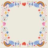 Заволакивает граница влюбленности сердец дождевых капель радуг Стоковое Фото