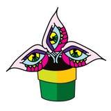 Завод изверга в иллюстрации вектора дизайна цветочного горшка плоской Стоковое Фото