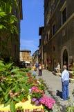 Завод и уличный рынок цветков в деревне Pienza Стоковые Фотографии RF