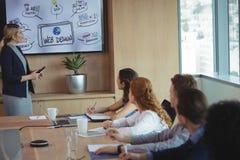 Завод коммерсантки объясняя к команде во время встречи Стоковая Фотография RF