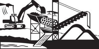 Завод мытья добычи золота иллюстрация штока