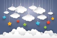 Заволоките в голубое небо с стилем искусства бумаги звезды Стоковые Изображения RF