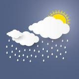 Заволоките в голубое небо с стилем искусства бумаги дождя Стоковые Изображения