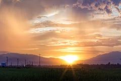 Заволокли заход солнца неба оранжевый с зеленым полем Стоковое Фото