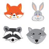 Заводские головки животных в стиле Doodle на белой предпосылке иллюстрация штока