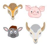 Заводские головки животных в стиле Doodle на белой предпосылке бесплатная иллюстрация
