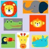Заводские головки животных в стиле Doodle на цветных субстратах бесплатная иллюстрация