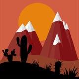 Заводы кактуса в заходе солнца пустыни с предпосылкой гор бесплатная иллюстрация