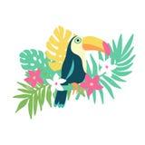 Заводы тропической птицы toucan и экзотические и цветки Стоковое Изображение RF