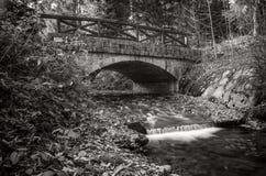 Заводь с каменным мостом, Sumava, чехией Стоковые Фотографии RF