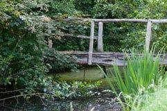 Заводь с старым деревянным мостом Стоковое фото RF