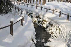 Заводь через поле снега на Саппоро Стоковые Фотографии RF