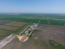 Завод для засыхания и хранения зерна Взгляд сверху Стоковые Фото