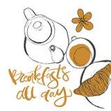 Завтраки весь день Литерность руки для вашего дизайна иллюстрация вектора