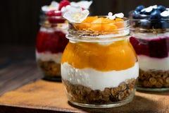 завтраки в опарниках с muesli, пюрем ягоды и сливк, крупным планом стоковые фотографии rf