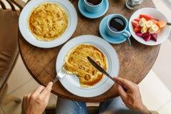 Завтрак блинчика банана Стоковая Фотография RF