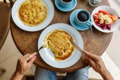 Завтрак блинчика банана Стоковые Фото