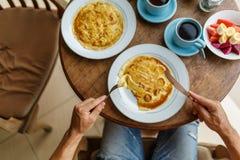 Завтрак блинчика банана Стоковые Изображения RF