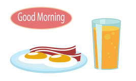 Завтрак - взбитые яйца, бекон и апельсиновый сок иллюстрация штока