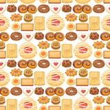 Завтрак взгляд сверху тортов печенья сладостный домодельный печет иллюстрацию вектора предпосылки картины печенья печенья еды без Стоковое Изображение RF