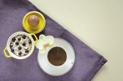 Завтрак в кровати взгляд сверху на подносе овсяной каши в желтом баке, muesli со свежими голубиками, яйца, кофе с молоком на пурп стоковое фото rf